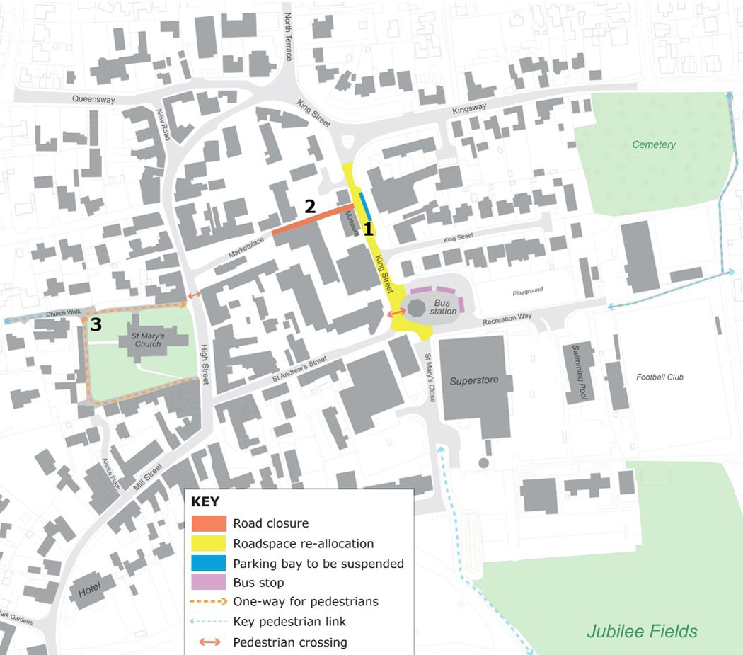 Safer places - Mildenhall town centre map of changes to highways and footpaths