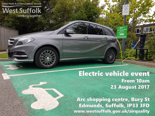 Electric vehicle event, arc shopping Centre, Bury St Edmunds 23 August 2017 from 10am
