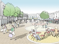 An artist impression from Marks and Spencer's facing across towards the war memorial