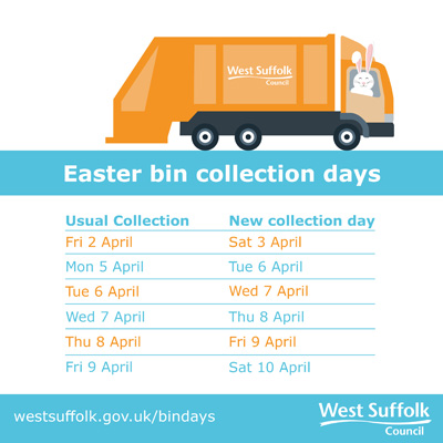 West Suffolk Easter bin collections