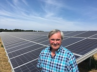 Cllr Stephen Edwards at the Forest Heath solar farm at Toggam Farm, Lakenheath