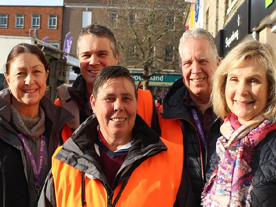Cllr Sara Mildmay-White with some of the Rough Sleeper Outreach Team - note this picture was taken in January 2020 before the COVID19 pandemic and the need for social distancing.