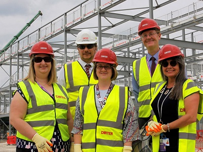 Cllr Joanna Rayner with Kate Ashton, Executive Library Manager from Suffolk Libraries,  Lois Wreathall, Head of Primary Care at West Suffolk CCG and Alex Wilson, Director at West Suffolk Council and Richard Groom, Senior Project Manager at R G Carter