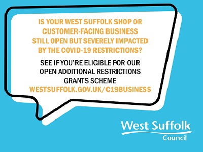 New grant available for open shops and businesses in West Suffolk impacted by COVID restrictions