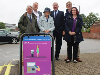 Cllr Peter Stevens, Andrew Speed, Cllr Susan Glossop, Cllr John Griffiths, Mike Kirkham and Susan Glossop welcome the introduction of the Flexi-Park trial in Bury St Edmunds.