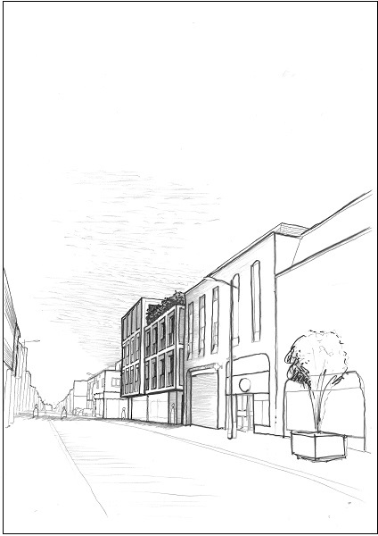 St Andrews Street South from outside Burger King sketch